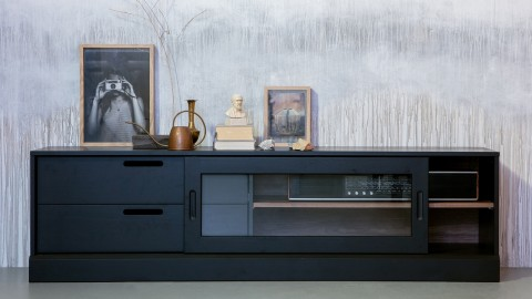 Meuble TV 1 porte 2 tiroirs en bois noir mat - Collection James - Woood