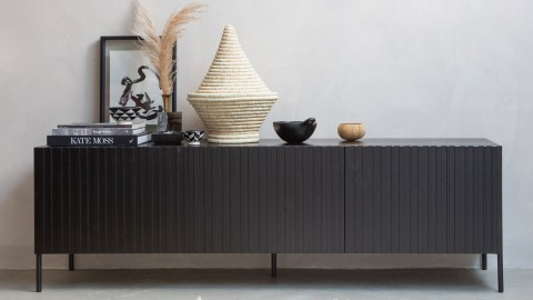 Meuble TV 3 portes en pin noir - Collection Gravure - Woood