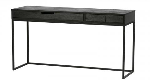 Bureau 2 tiroir en pin massif et métal noir - Collection Silas - Woood