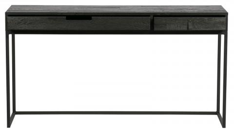 Bureau 2 tiroirs en pin massif et métal noir - Collection Silas - Woood