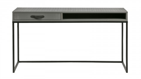 Bureau 1 tiroir une niche en pin massif argile piètement en métal noir - Collection Morris - Woood
