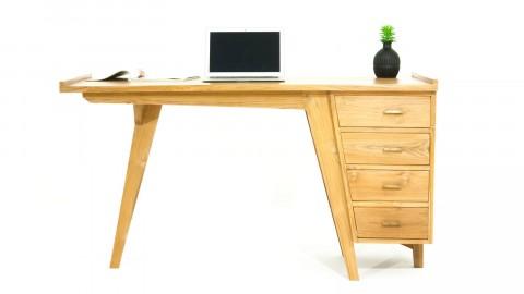 Bureau en teck massif, 4 tiroirs et piètement conique - Collection Arboga