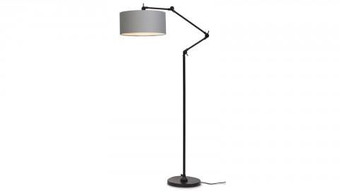 Lampadaire en métal noir abat jour en coton gris clair - Collection Amsterdam - It's About Romi