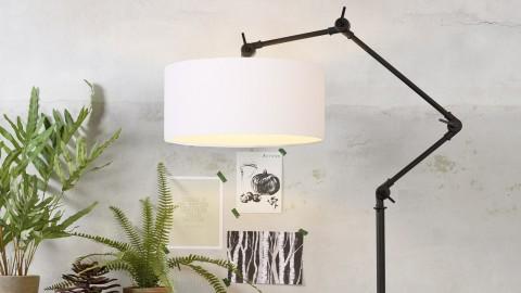 Lampadaire en métal noir abat jour en coton blanc - Collection Amsterdam - It's About Romi