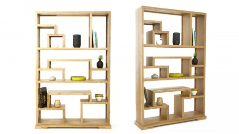 Etagère design en teck massif, 12 niches de rangement - Collection Arboga