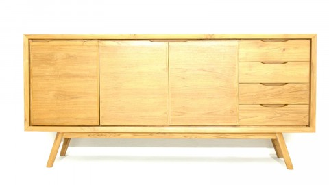 Buffet en teck massif, 3 portes avec étagères et 4 tiroirs, piètement conique - Collection Arboga