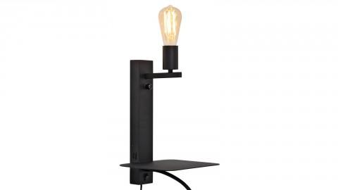 Applique en métal noir avec lampe de lecture, port USB et étagère - Collection Florence - It's About Romi