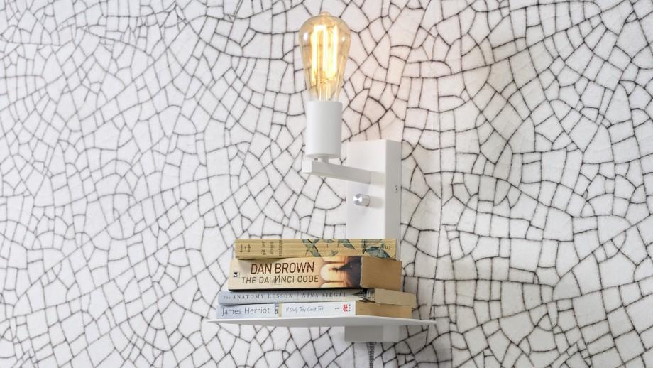 Applique murale en métal blanc avec étagère et port USB - Collection Florence - It's About Romi
