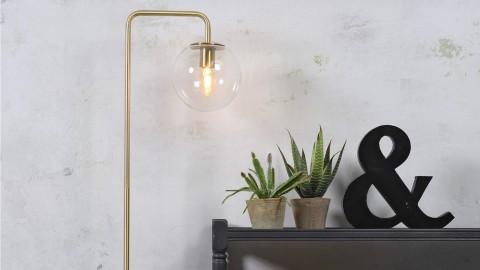 Lampadaire en métal doré abat jour rond en verre - Collection Warsaw - It's About Romi