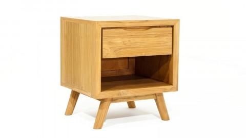 Table de chevet en teck massif avec 1 niche de rangement et 1 tiroir, piètement conique - Collection Arboga