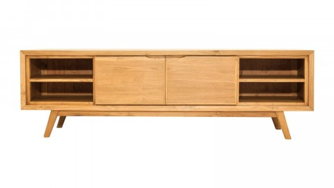 Meuble TV en teck massif, 2 portes, 5 niches de rangement et piètement compas, 180 cm - Collection Arboga