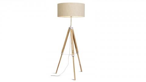 Lampadaire trépied en bois et métal blanc abat jour en coton lin clair - Collection Darwin - It's About Romi
