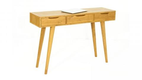Console en teck massif avec 3 tiroirs, piètement conique, 120 cm - Collection Arboga