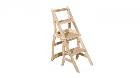 Chaise de libraire en teck blanchi - Collection Ines