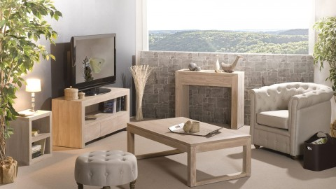 Console moderne 2 tiroirs en teck blanchi - Collection Ines