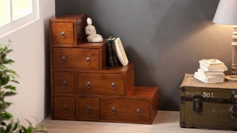 Meuble escalier 7 tiroirs en mindi - Collection Lauren