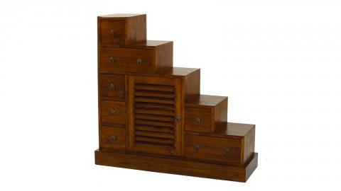 Meuble escalier 7 tiroirs 1 porte persienne - Collection Lauren