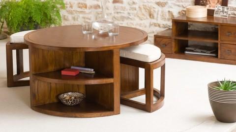 Table basse ronde en mindi 2 tabourets avec coussins - Collection Lauren