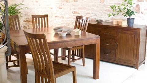 Table à manger carrée extensible en mindi - Collection Lauren