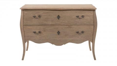 Commode baroque 2 tiroirs en pin vieilli - Collection Oliver