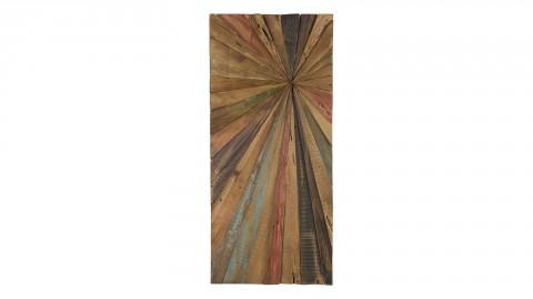 Décoration murale rectangulaire 100x40cm en teck recyclé multicolore - Collection Sam