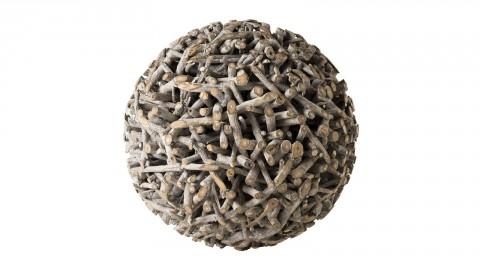 Déco boule 62cm en teck branches grises - Collection Sam