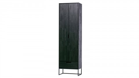 Armoire 2 portes 1 tiroir en bois noir - Collection Silas - Woood