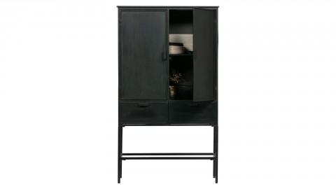 Meuble de rangement 2 portes 2 tiroirs en métal noir - Collection Wish - BePureHome