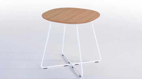 Table d'appoint design 45cm en chêne et piètement en métal blanc - Collection Köping