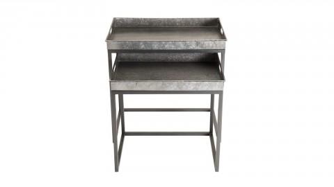 Lot de 2 tables gigognes plateau en zinc piètement en métal - Collection Helena