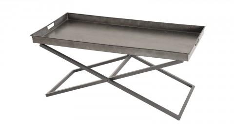 Table basse plateau en zinc piètement tréteau en métal - Collection Helena