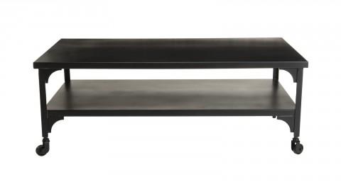 Table basse industrielle en métal noir double plateau - Collection Romain