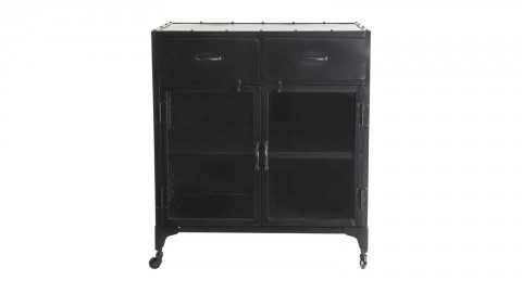Buffet en métal noir 2 tiroirs 2 portes vitrines - Romain