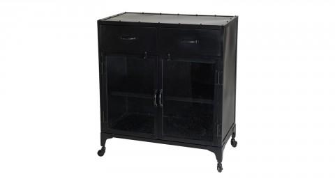 Buffet en métal noir 2 tiroirs 2 portes vitrines - Collection Romain