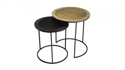 Lot de 2 tables gigognes rondes en aluminium doré et noir - Collection Johan