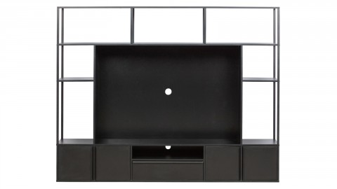 Meuble TV 5 portes 7 niches en bois et métal noir - Collection Toby - Woood