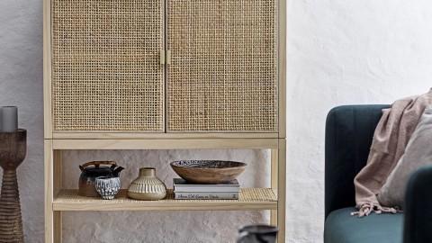 Petit meuble de rangement 2 portes en pin et rotin - Collection Sanna - Bloomingville
