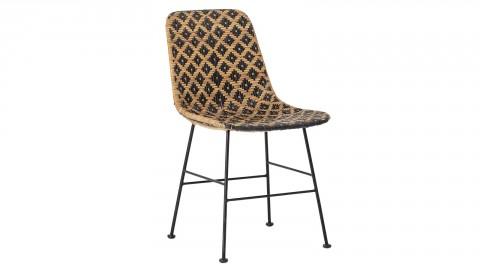 Chaise en rotin noir et naturel piètement en métal noir - Collection Kitty - Bloomingville