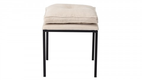 Lot de 2 tabourets en métal noir coussin en velours beige - Collection Tammy - Bloomingville