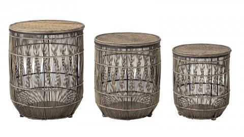Lot de 2 tables d'appoint en rotin et bambou - Bloomingville