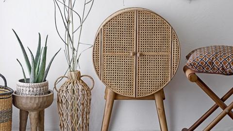 Petit meuble de rangement rond en rotin et bois - Collection Otto - Bloomingville