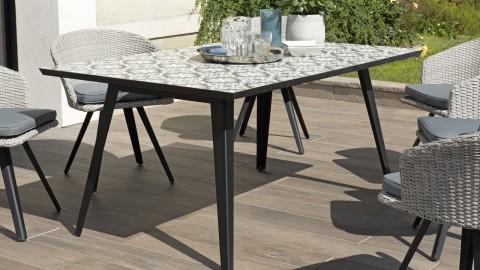 Table de jardin 4 personnes rectangulaire en carreaux de ciment piètement métal - Collection Vick