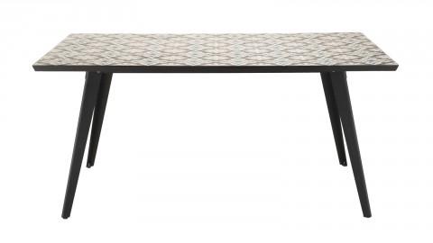 Table de jardin 4/6 personnes - rectangulaire 162x102 cm plateau carreaux de ciment pieds noirs en métal - Collection Vick