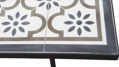Table de jardin 6 personnes rectangulaire en carreaux de ciment piètement métal - Collection Vick