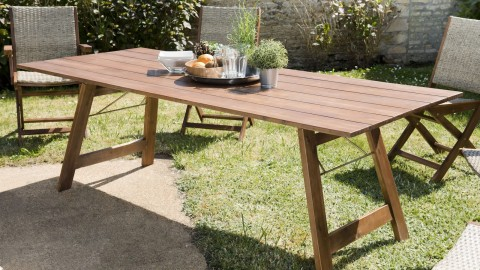 Table de jardin 6 personnes rectangulaire pliante en acacia - Collection Vick