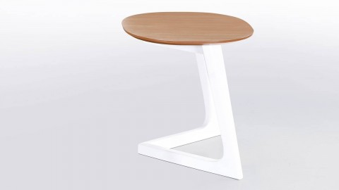Table d'appoint design 45cm en bois d'hévéa, pieds blancs - Collection Köping