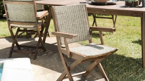 Lot de 2 fauteuils de jardin pliants en rotin synthétique et acacia - Collection Victor