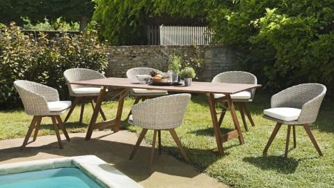 Salon de jardin 6 places en acacia et rotin synthétique avec fauteuils de jardin - Collection Hawaï