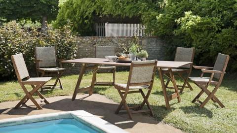 Salon de jardin 6 places en acacia et rotin synthétique - Collection Zanzibar