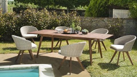 Salon de jardin 6 places en acacia et rotin synthétique avec table extensible - Collection Bali